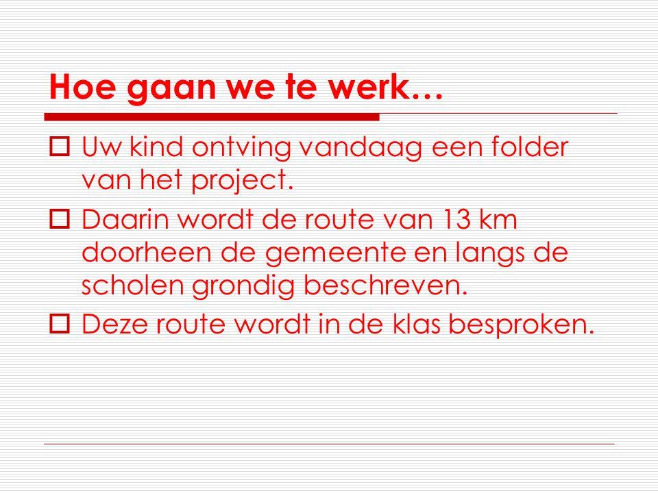 Hoe gaan we te werk…  Uw kind ontving vandaag een folder van het project.  Daarin wordt de route van 13 km doorheen de gemeente en langs de scholen