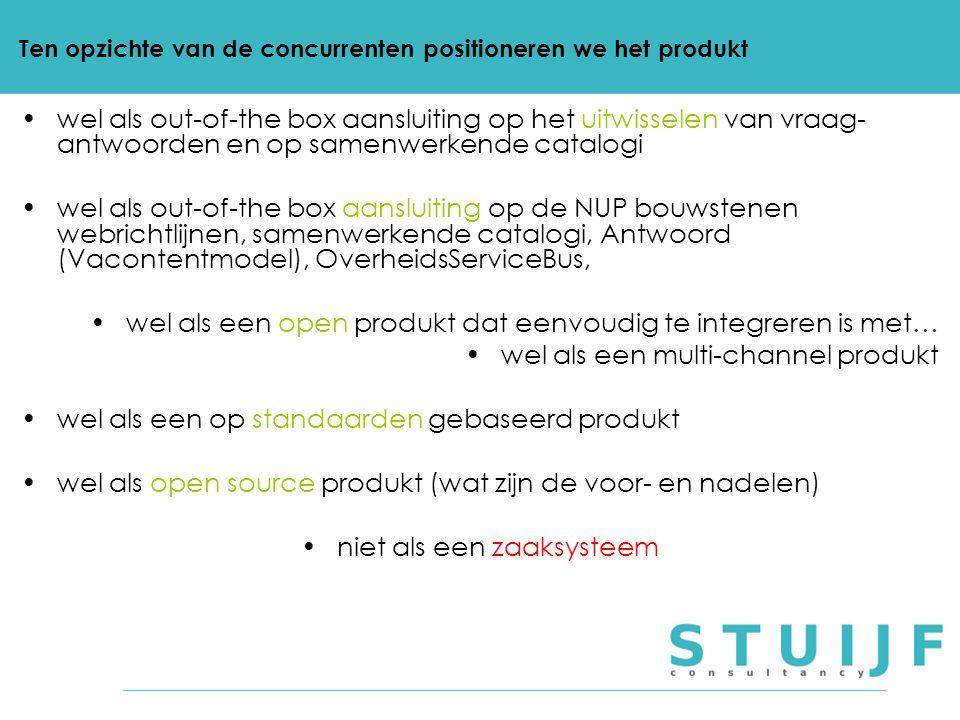 Ten opzichte van de concurrenten positioneren we het produkt wel als out-of-the box aansluiting op het uitwisselen van vraag- antwoorden en op samenwe