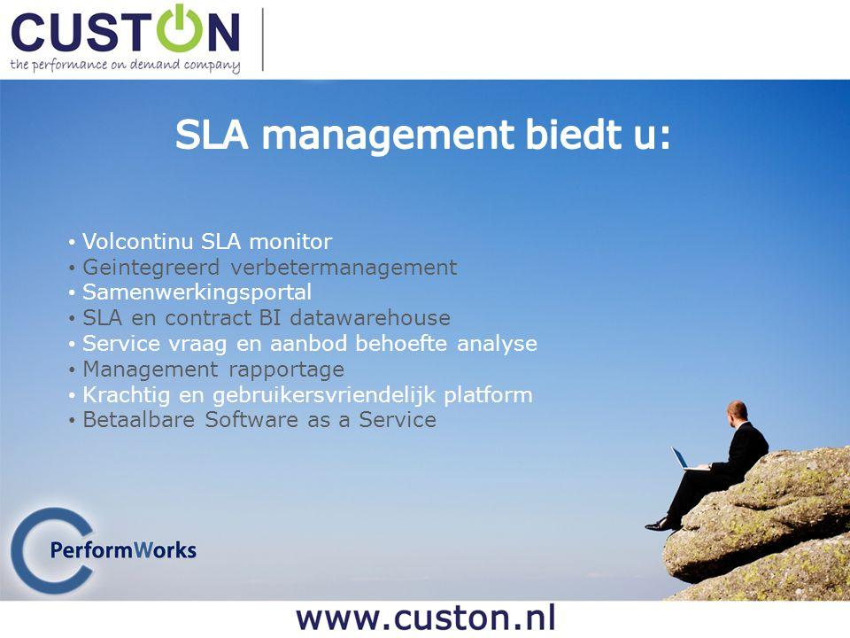 Volcontinu SLA monitor Geintegreerd verbetermanagement Samenwerkingsportal SLA en contract BI datawarehouse Service vraag en aanbod behoefte analyse M