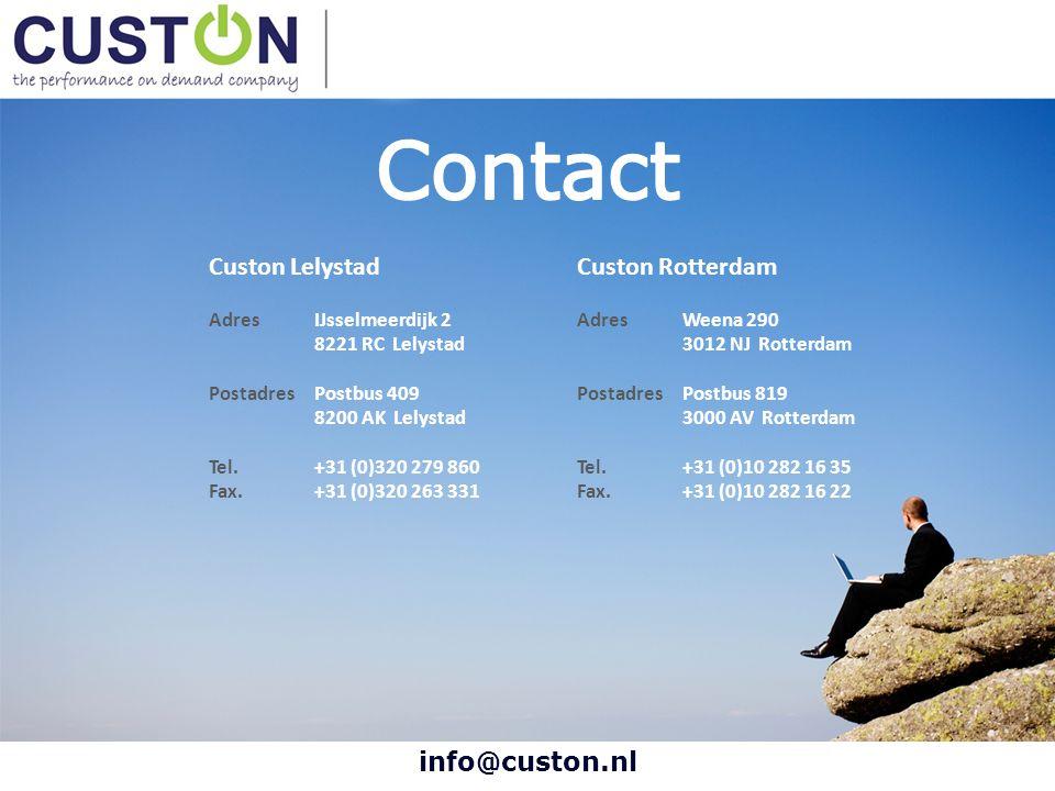 info@custon.nl Custon Lelystad AdresIJsselmeerdijk 2 8221 RC Lelystad PostadresPostbus 409 8200 AK Lelystad Tel. +31 (0)320 279 860 Fax. +31 (0)320 26