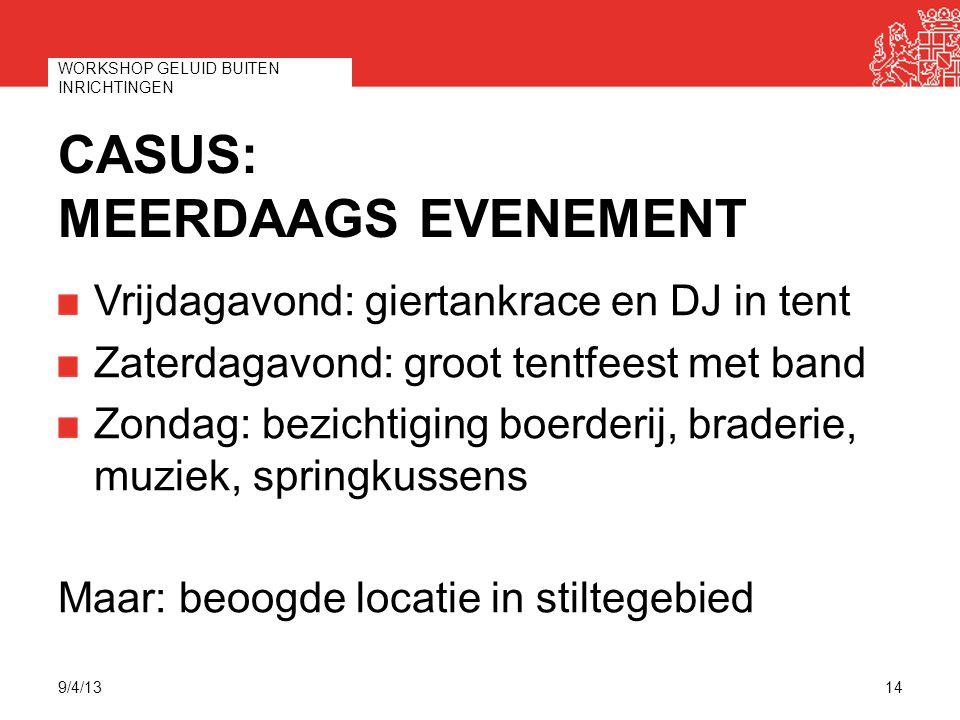 CASUS: MEERDAAGS EVENEMENT Vrijdagavond: giertankrace en DJ in tent Zaterdagavond: groot tentfeest met band Zondag: bezichtiging boerderij, braderie,