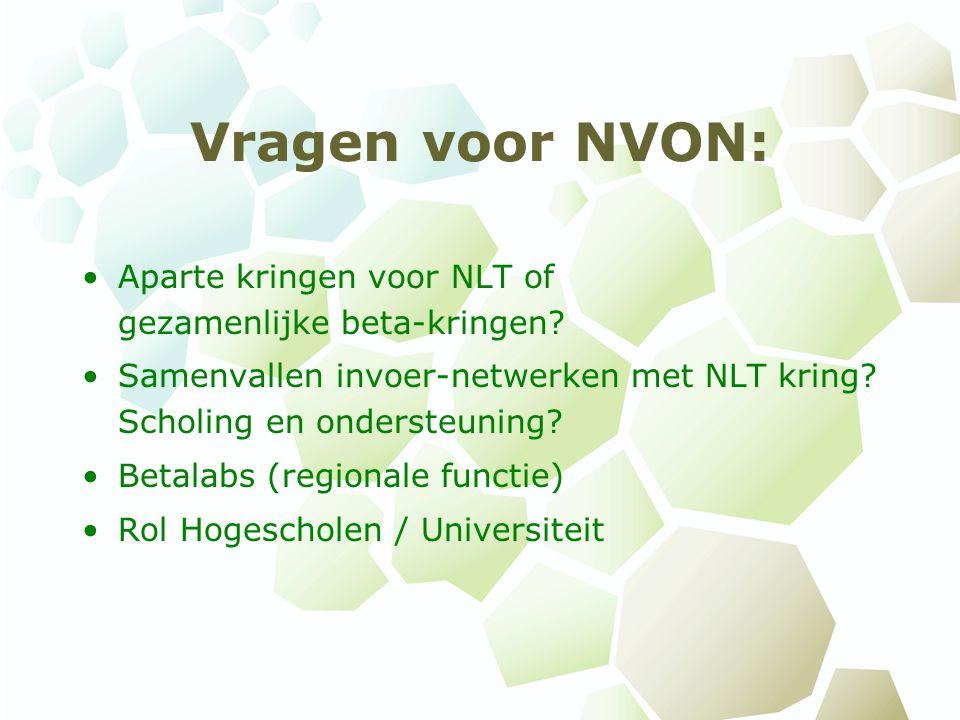 Vragen voor NVON: Aparte kringen voor NLT of gezamenlijke beta-kringen? Samenvallen invoer-netwerken met NLT kring? Scholing en ondersteuning? Betalab