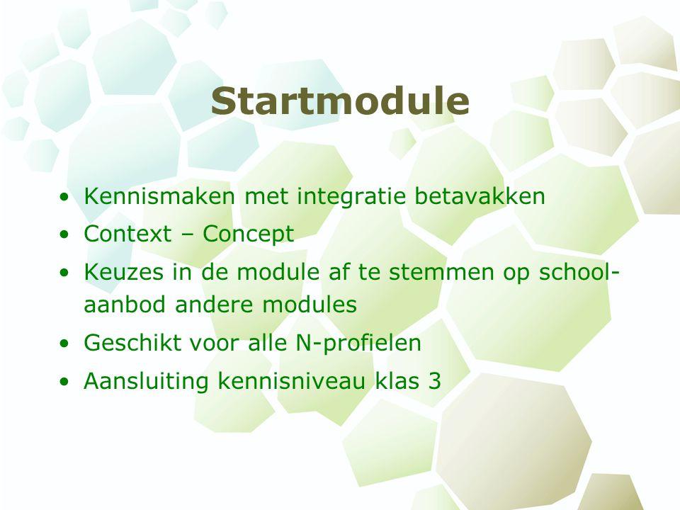 Startmodule Kennismaken met integratie betavakken Context – Concept Keuzes in de module af te stemmen op school- aanbod andere modules Geschikt voor a