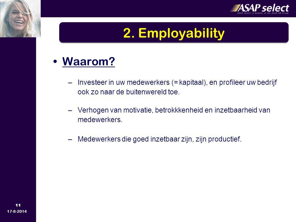 11 17-8-2014 Waarom? –Investeer in uw medewerkers (= kapitaal), en profileer uw bedrijf ook zo naar de buitenwereld toe. –Verhogen van motivatie, betr