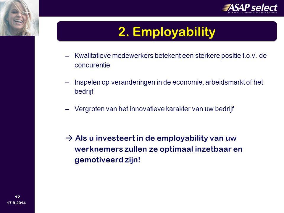 12 17-8-2014 –Kwalitatieve medewerkers betekent een sterkere positie t.o.v. de concurentie –Inspelen op veranderingen in de economie, arbeidsmarkt of