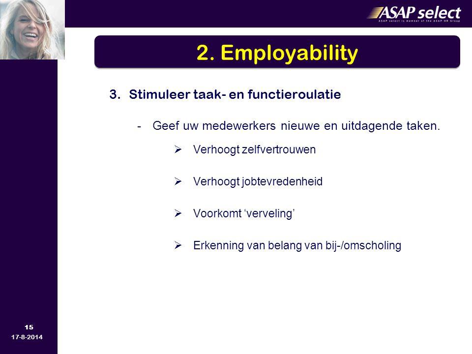 15 17-8-2014 3.Stimuleer taak- en functieroulatie - Geef uw medewerkers nieuwe en uitdagende taken.  Verhoogt zelfvertrouwen  Verhoogt jobtevredenhe