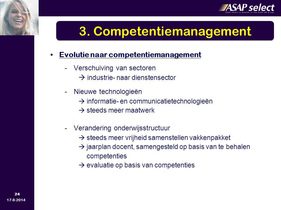 24 17-8-2014 Evolutie naar competentiemanagement -Verschuiving van sectoren  industrie- naar dienstensector -Nieuwe technologieën  informatie- en co