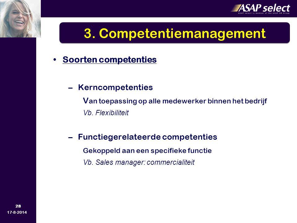 28 17-8-2014 Soorten competenties –Kerncompetenties V an toepassing op alle medewerker binnen het bedrijf Vb. Flexibiliteit –Functiegerelateerde compe