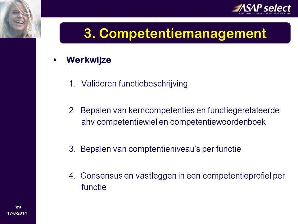 29 17-8-2014 Werkwijze 1.Valideren functiebeschrijving 2. Bepalen van kerncompetenties en functiegerelateerde ahv competentiewiel en competentiewoorde
