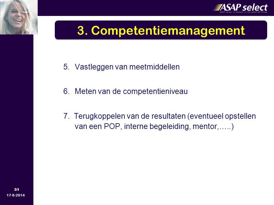 31 17-8-2014 5.Vastleggen van meetmiddellen 6.Meten van de competentieniveau 7. Terugkoppelen van de resultaten (eventueel opstellen van een POP, inte