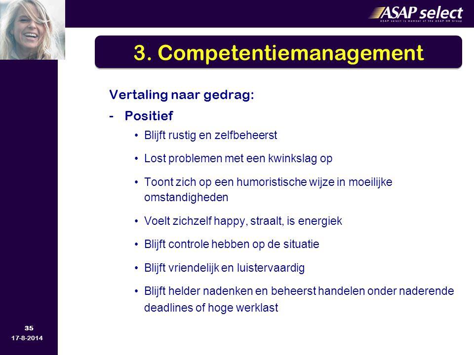 35 17-8-2014 Vertaling naar gedrag: -Positief Blijft rustig en zelfbeheerst Lost problemen met een kwinkslag op Toont zich op een humoristische wijze