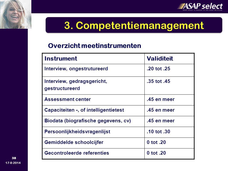 38 17-8-2014 Overzicht meetinstrumenten InstrumentValiditeit Interview, ongestrutureerd.20 tot.25 Interview, gedragsgericht, gestructureerd.35 tot.45