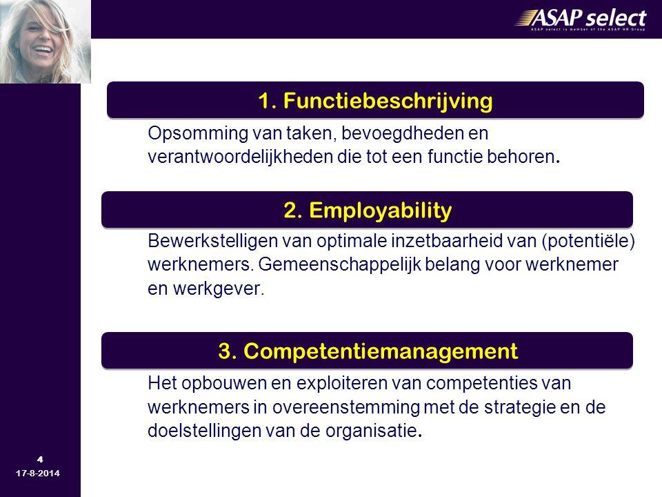 4 17-8-2014 Opsomming van taken, bevoegdheden en verantwoordelijkheden die tot een functie behoren. Bewerkstelligen van optimale inzetbaarheid van (po