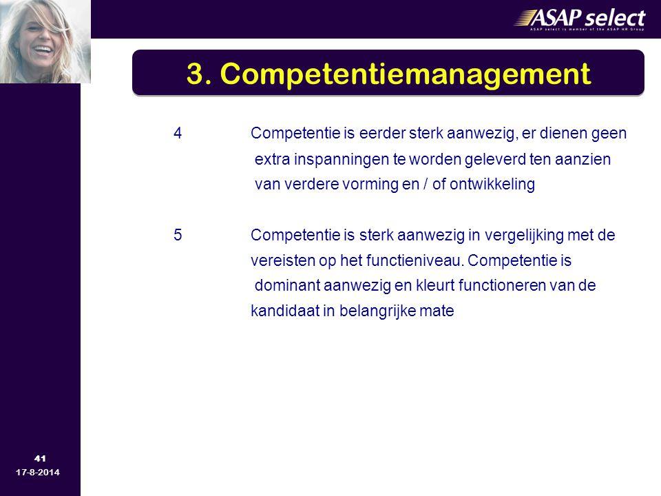 41 17-8-2014 4Competentie is eerder sterk aanwezig, er dienen geen extra inspanningen te worden geleverd ten aanzien van verdere vorming en / of ontwikkeling 5Competentie is sterk aanwezig in vergelijking met de vereisten op het functieniveau.