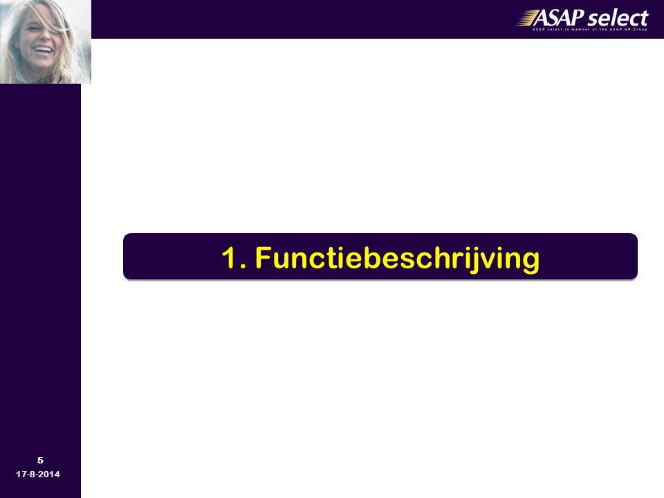 26 17-8-2014 Vroeger –Functiebeschrijving Inhoud en eisen van de functie Nu –Competentiemanagement Kennis Vaardigheden Attitudes 3.