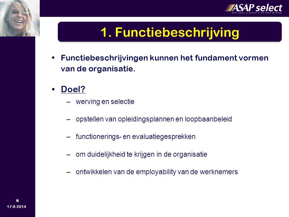 6 17-8-2014 Functiebeschrijvingen kunnen het fundament vormen van de organisatie. Doel? –werving en selectie –opstellen van opleidingsplannen en loopb