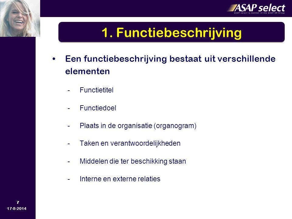7 17-8-2014 Een functiebeschrijving bestaat uit verschillende elementen -Functietitel -Functiedoel -Plaats in de organisatie (organogram) -Taken en verantwoordelijkheden -Middelen die ter beschikking staan -Interne en externe relaties 1.