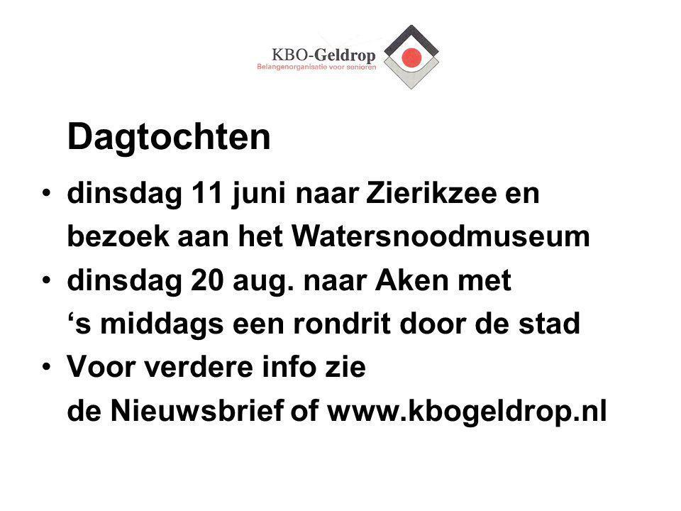 Dagtochten dinsdag 11 juni naar Zierikzee en bezoek aan het Watersnoodmuseum dinsdag 20 aug.