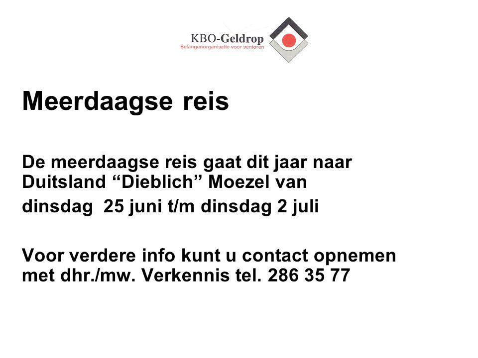 Vrijwilligersdag Voor alle vrijwilligers van KBO Geldrop is het uitstapje op woensdag 18 september