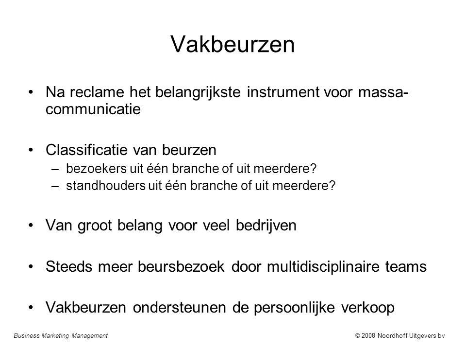 Business Marketing Management© 2008 Noordhoff Uitgevers bv Vakbeurzen Na reclame het belangrijkste instrument voor massa- communicatie Classificatie v