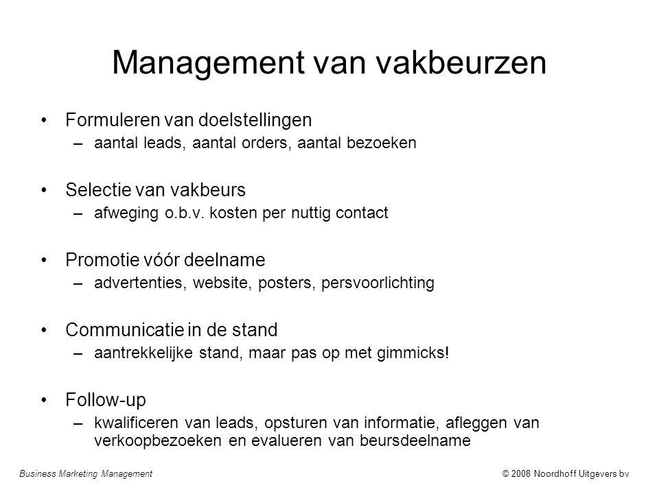 Business Marketing Management© 2008 Noordhoff Uitgevers bv Management van vakbeurzen Formuleren van doelstellingen –aantal leads, aantal orders, aanta