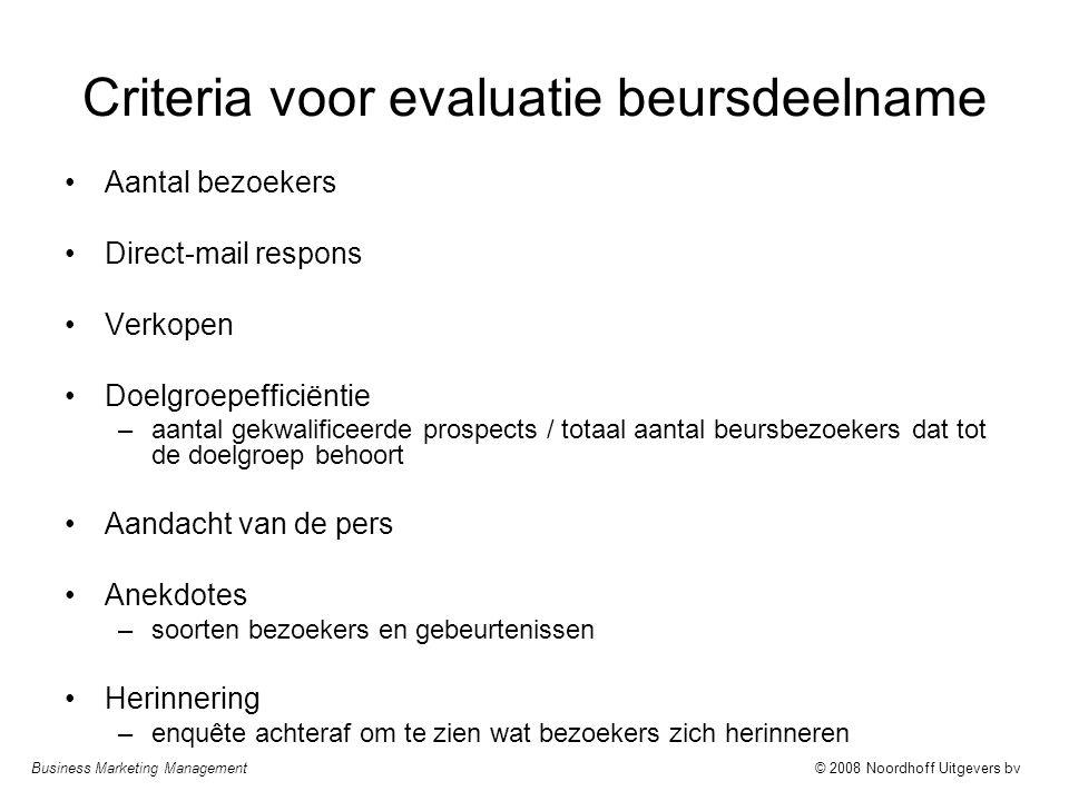 Business Marketing Management© 2008 Noordhoff Uitgevers bv Criteria voor evaluatie beursdeelname Aantal bezoekers Direct-mail respons Verkopen Doelgro