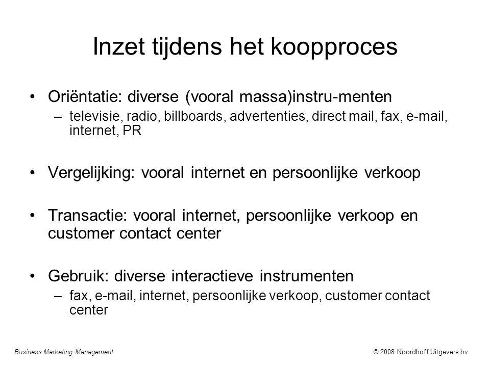 Business Marketing Management© 2008 Noordhoff Uitgevers bv Inzet tijdens het koopproces Oriëntatie: diverse (vooral massa)instru-menten –televisie, ra