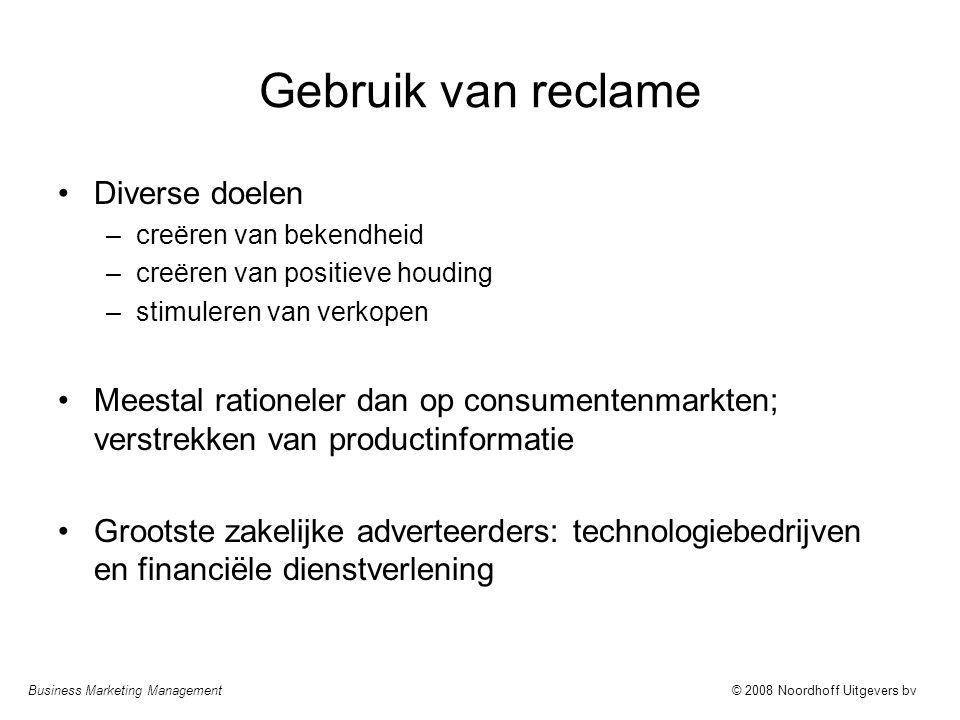 Business Marketing Management© 2008 Noordhoff Uitgevers bv Gebruik van reclame Diverse doelen –creëren van bekendheid –creëren van positieve houding –