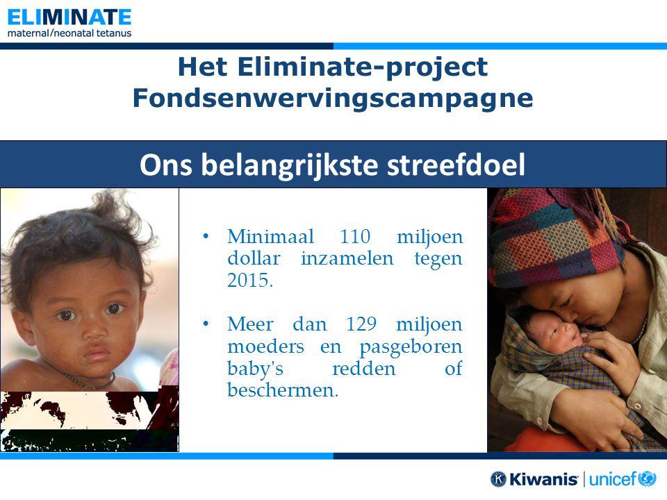 Het Eliminate-project Fondsenwervingscampagne Minimaal 110 miljoen dollar inzamelen tegen 2015. Meer dan 129 miljoen moeders en pasgeboren baby's redd