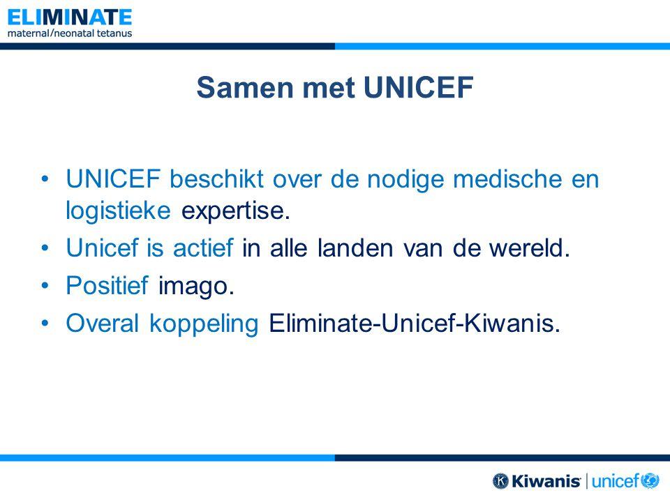 Samen met UNICEF UNICEF beschikt over de nodige medische en logistieke expertise. Unicef is actief in alle landen van de wereld. Positief imago. Overa