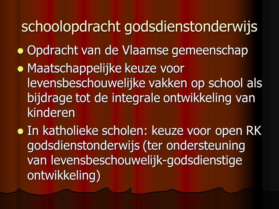 schoolopdracht godsdienstonderwijs Opdracht van de Vlaamse gemeenschap Opdracht van de Vlaamse gemeenschap Maatschappelijke keuze voor levensbeschouwe
