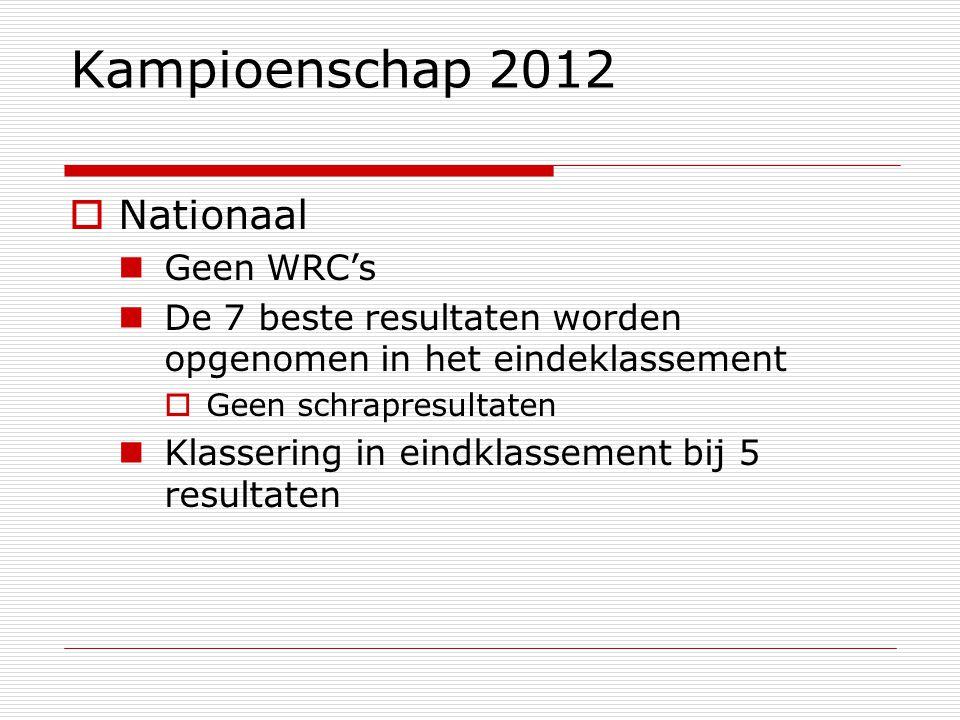 Kampioenschap 2012  Nationaal Geen WRC's De 7 beste resultaten worden opgenomen in het eindeklassement  Geen schrapresultaten Klassering in eindklassement bij 5 resultaten