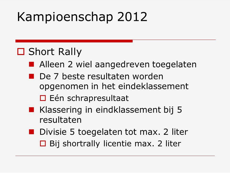 Kampioenschap 2012  Short Rally Alleen 2 wiel aangedreven toegelaten De 7 beste resultaten worden opgenomen in het eindeklassement  Eén schrapresultaat Klassering in eindklassement bij 5 resultaten Divisie 5 toegelaten tot max.