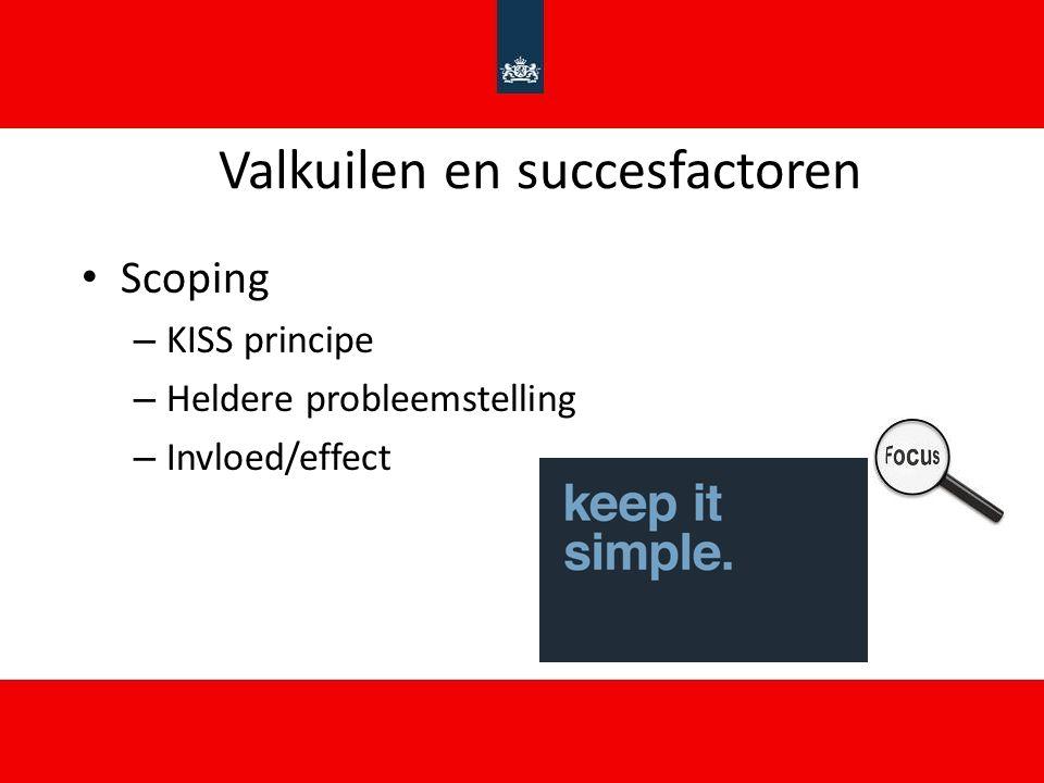 Valkuilen en succesfactoren Scoping – KISS principe – Heldere probleemstelling – Invloed/effect
