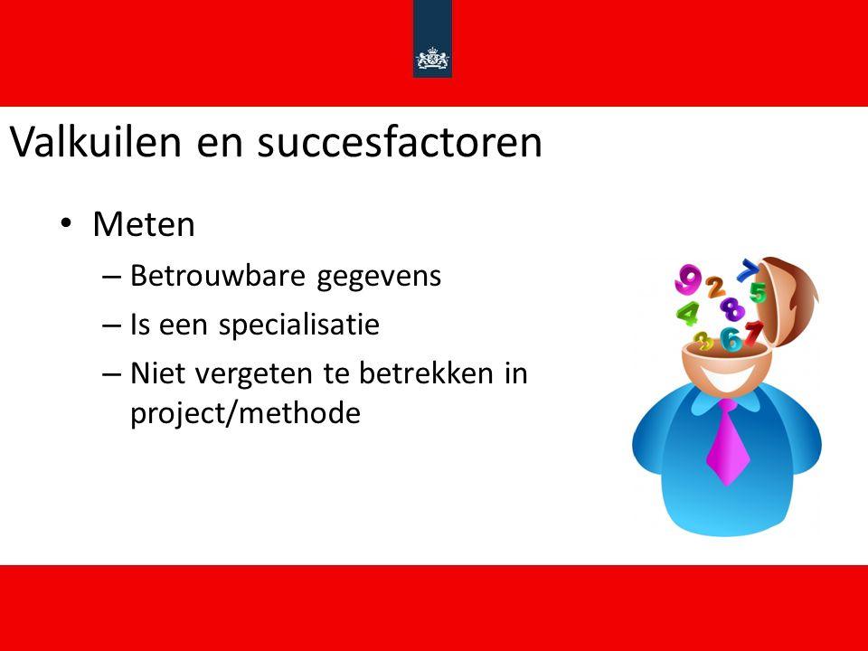 Valkuilen en succesfactoren Meten – Betrouwbare gegevens – Is een specialisatie – Niet vergeten te betrekken in project/methode