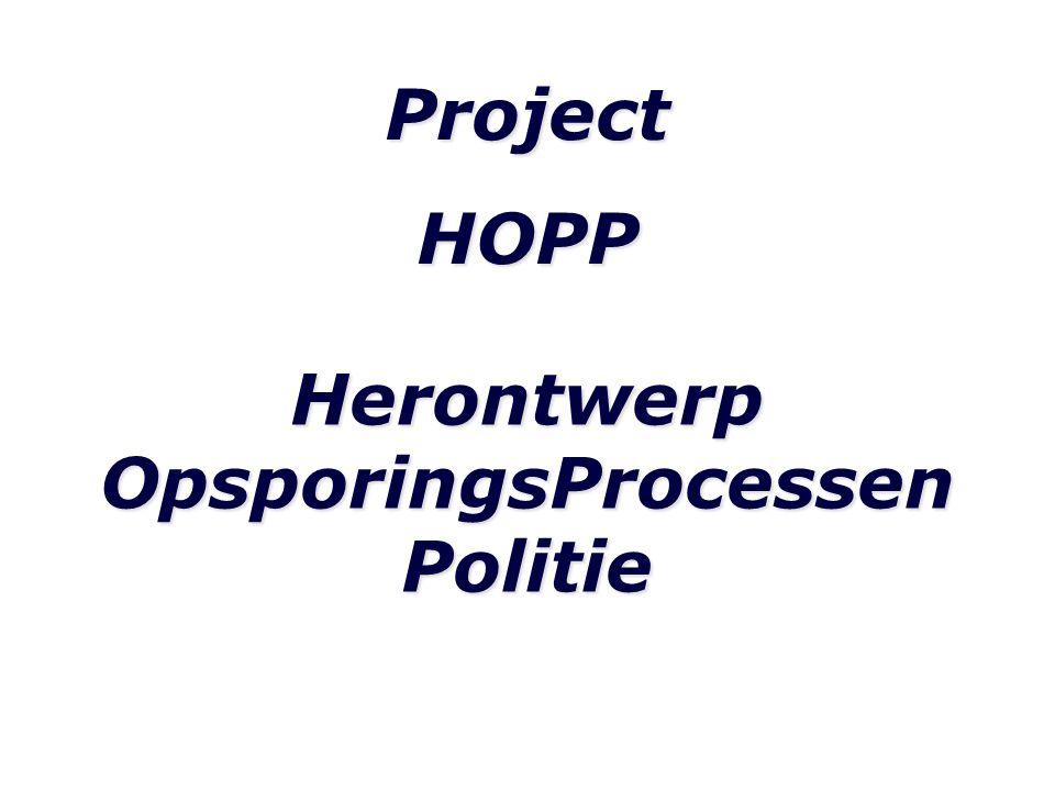 ProjectHOPP Herontwerp OpsporingsProcessen Politie