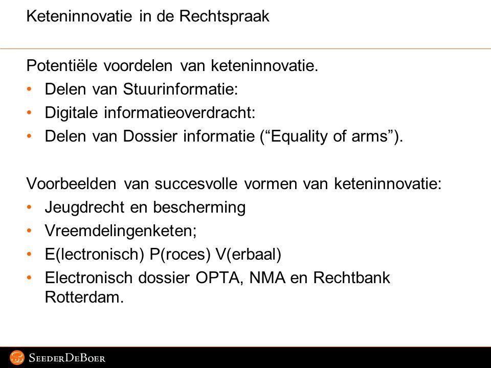 Pagina 6 © 2007 SeederDeBoer Keteninnovatie in de Rechtspraak Potentiële voordelen van keteninnovatie. Delen van Stuurinformatie: Digitale informatieo