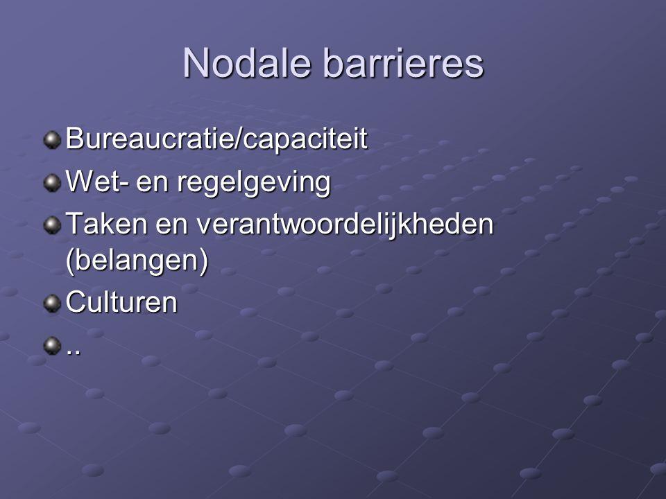 Nodale barrieres Bureaucratie/capaciteit Wet- en regelgeving Taken en verantwoordelijkheden (belangen) Culturen..