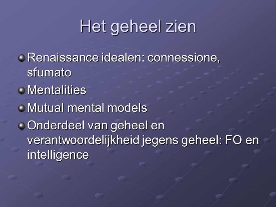 Het geheel zien Renaissance idealen: connessione, sfumato Mentalities Mutual mental models Onderdeel van geheel en verantwoordelijkheid jegens geheel: FO en intelligence