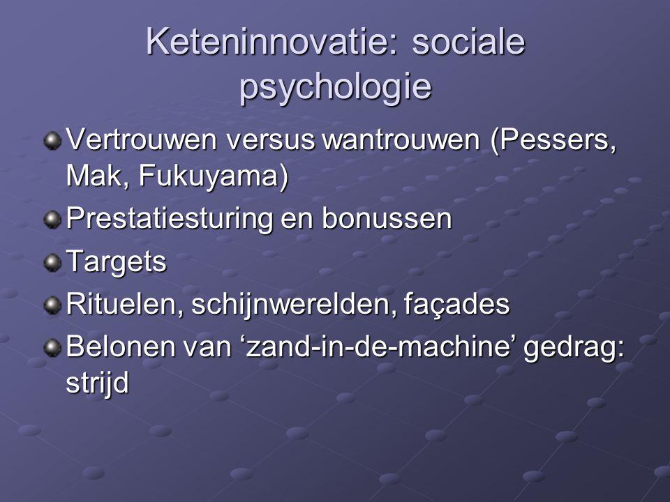 Keteninnovatie: sociale psychologie Vertrouwen versus wantrouwen (Pessers, Mak, Fukuyama) Prestatiesturing en bonussen Targets Rituelen, schijnwerelden, façades Belonen van 'zand-in-de-machine' gedrag: strijd