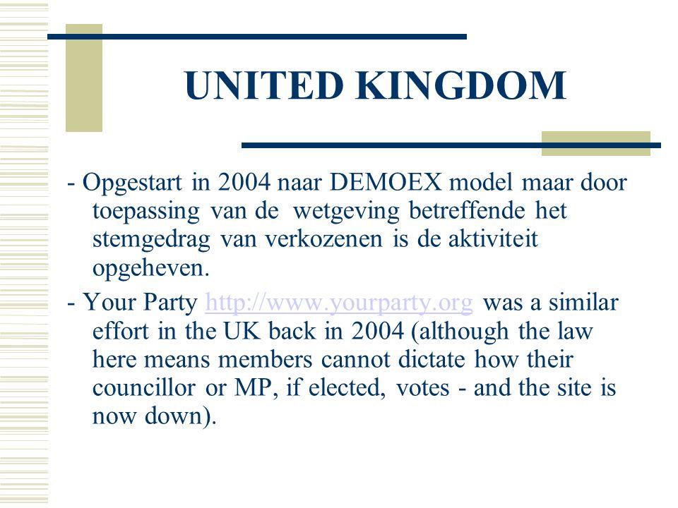 UNITED KINGDOM - Opgestart in 2004 naar DEMOEX model maar door toepassing van de wetgeving betreffende het stemgedrag van verkozenen is de aktiviteit opgeheven.