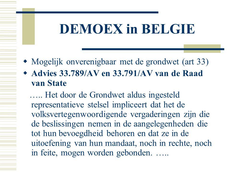 DEMOEX in BELGIE  Mogelijk onverenigbaar met de grondwet (art 33)  Advies 33.789/AV en 33.791/AV van de Raad van State ….. Het door de Grondwet ald