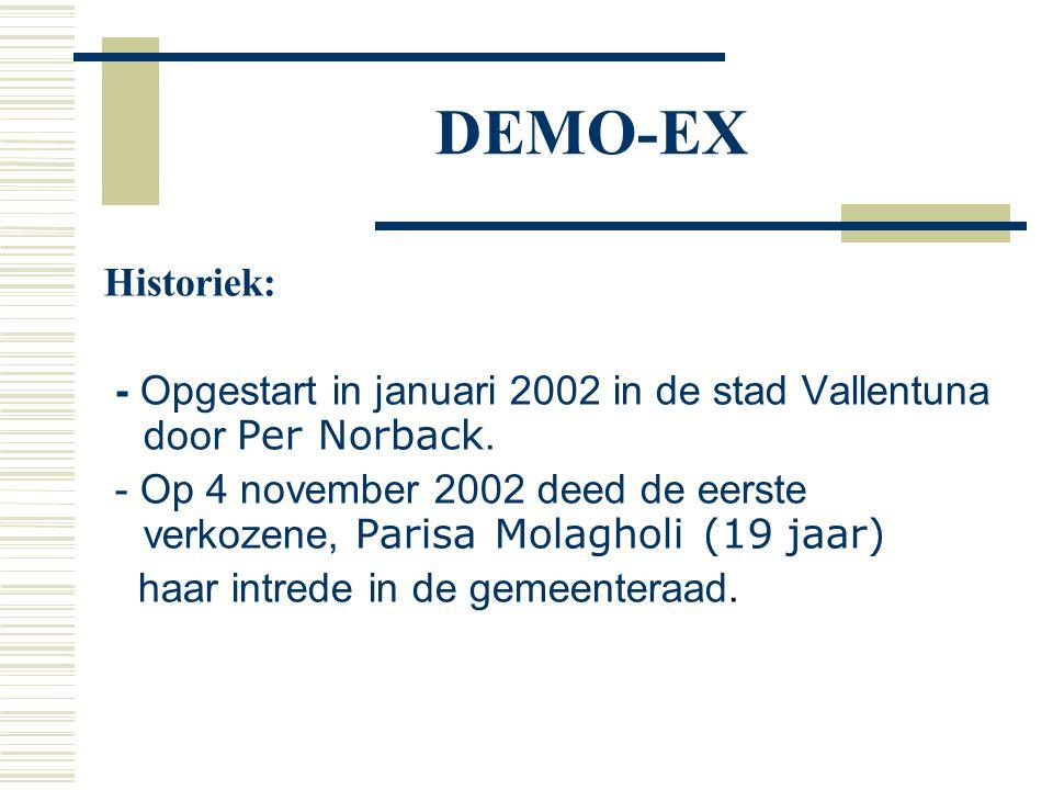 DEMO-EX Historiek: - Opgestart in januari 2002 in de stad Vallentuna door Per Norback. - Op 4 november 2002 deed de eerste verkozene, Parisa Molagholi
