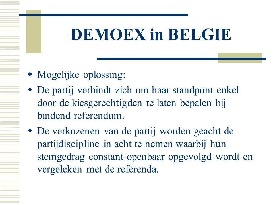 DEMOEX in BELGIE  Mogelijke oplossing:  De partij verbindt zich om haar standpunt enkel door de kiesgerechtigden te laten bepalen bij bindend refere
