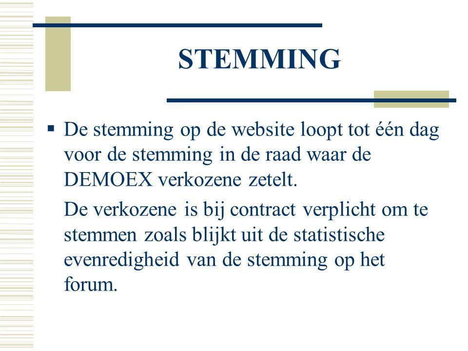 STEMMING  De stemming op de website loopt tot één dag voor de stemming in de raad waar de DEMOEX verkozene zetelt. De verkozene is bij contract verpl