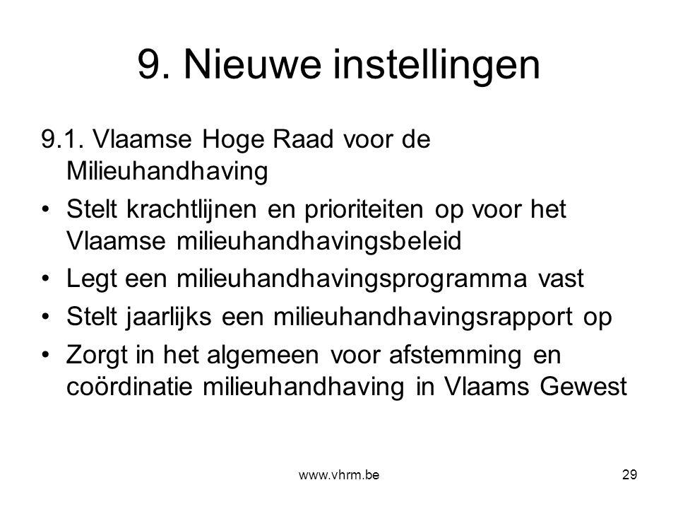 www.vhrm.be29 9. Nieuwe instellingen 9.1. Vlaamse Hoge Raad voor de Milieuhandhaving Stelt krachtlijnen en prioriteiten op voor het Vlaamse milieuhand