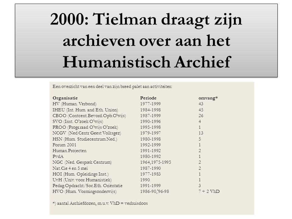 2000: Tielman draagt zijn archieven over aan het Humanistisch Archief Een overzicht van een deel van zijn breed palet aan activiteiten: OrganisatiePer