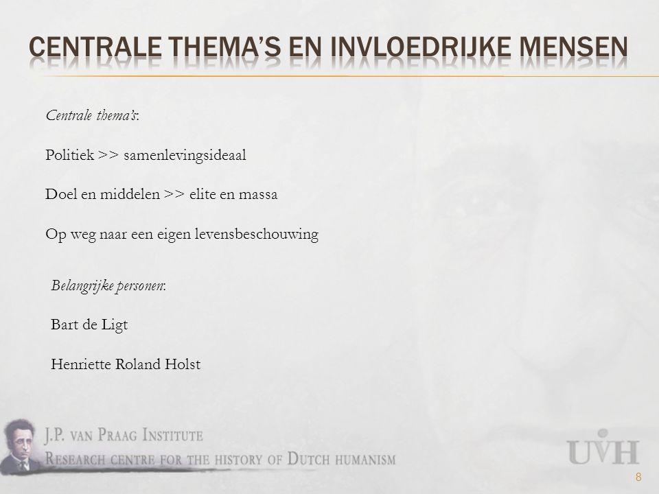8 Centrale thema's: Politiek >> samenlevingsideaal Doel en middelen >> elite en massa Op weg naar een eigen levensbeschouwing Belangrijke personen: Bart de Ligt Henriette Roland Holst