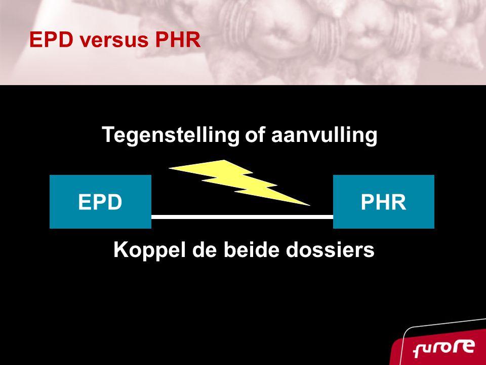 EPD versus PHR Koppel de beide dossiers EPDPHR Tegenstelling of aanvulling
