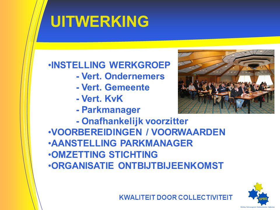 UITWERKING KWALITEIT DOOR COLLECTIVITEIT INSTELLING WERKGROEP - Vert.